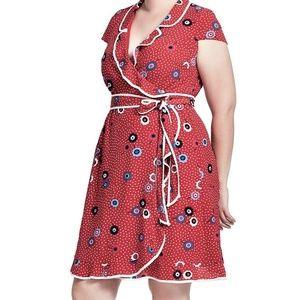 1X 16 MODCLOTH RED DAYTIME DAPPER TRUE WRAP DRESS
